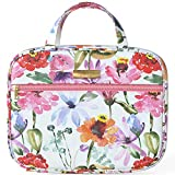 """Bible Cover Bag/Book Case Floral Synthetic Leather Pattern with Bible Tabs Bookmarks and Handle Fits for Standard Size Study Bible 10.2×2.5×7.5"""", Gift for Mom Ladies Women Daughter (Pansy Flower)"""