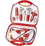 Theo Klein 4383 Maletín de médico, de médico de 14 piezas con estetoscopio, termómetro, jeringuilla y práctica asa de transporte, Medidas 28 cm x 9.5 cm x 22 cm, Juguete para niños a partir de 3 años