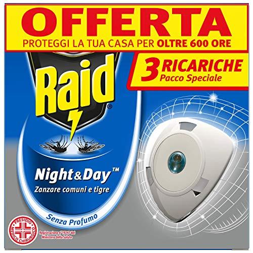 Raid Night & Day Ricarica, Antizanzare Elettrico, Repellente Zanzare Inodore a Sabbia Compressa,...