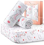 MYDEANI Fitted Crib Sheets Set 2 Pack 100% Jersey Knit Cotton for Baby Boys and Girls with Lovely Animals Prints in White, Gray and Coral, Standard Crib Mattress Topper