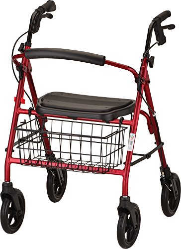 """NOVA Mack Bariatric Rollator Walker, 400 lb Weight Capacity, Heavy Duty with Extra Wide Seat, 23"""" Seat Height, Red"""