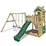 WICKEY Parque infantil de madera Smart Lodge 120 con columpio y tobogán verde, Casa de juegos de jardin con arenero y escalera para niños