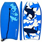 Goplus Super Body Board, Lightweight Bodyboard with EPS Core, XPE Deck, HDPE Slick Bottom, Premium Leash & Adjustable Wrist Rope, Perfect Surfing for Kids and Adults (Blue Shark, 33-inch)