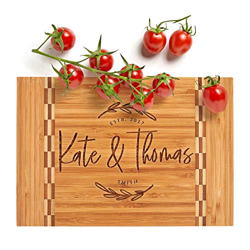 Personalized Cutting Board, Housewarming Gift   12 x 8   12 Designs & 3 Sizes - Wedding Gifts for Couple, Anniversary Gift, Kitchen Sign - Butcher Block Inlay Board #G