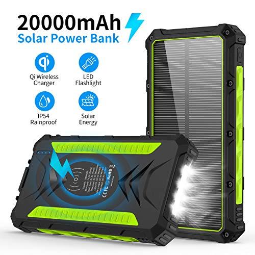 Powerbank Solare 20000mAh, Caricabatterie Solare Portatile con 2 Porte USB e 1 3.0A Tipo C ad Alta...