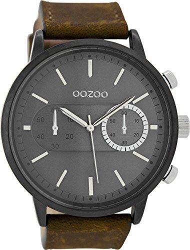 Oozoo Herrenuhr mit Lederband 49 MM Black/Grau/Dunkelbraun C9057