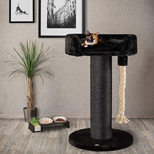 CanadianCat Company ® | Kratzbaum - Lounge Ontario XXL schwarz mit 20cmØ Sisalstamm, ideal auch für große und schwere Katzen wie z.B. Maincoon