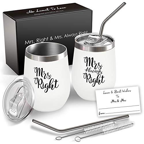 Mrs and Mrs Wine Tumbler Set, 12 Oz Insulated Stainless Steel, Lesbian Gift, Lesbian wedding Gift