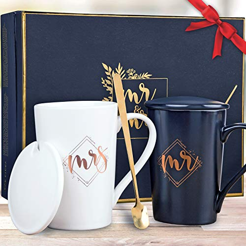KEDRIAN Mr and Mrs Mug Set, Elegant Couple Gifts, Best...