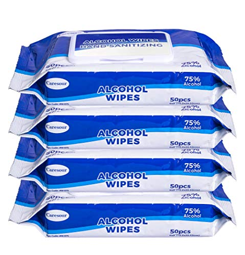 Caresour Advanced 75% Alcohol Hand Sanitizer Wipes, 4 Packs of 50 (200 Wipes)