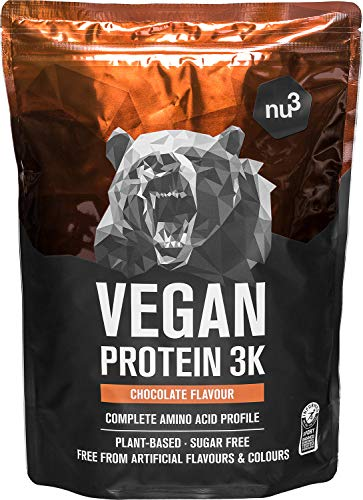 Vegan Protein 3K Shake - 1 Kg Chocolate - Pflanzliches Proteinpulver mit Reis-, Sonnenblumen- & Erbsen-Protein - Eiweißpulver aus 3-Komponenten-Protein mit 71% Eiweiss - von nu3