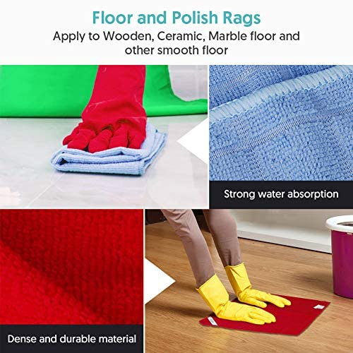 MEXERRIS Microfiber Cleaning Cloth Multifunctional All Purpose Labeled Rags for Glass Floor Polish Dust, Reusable Lint Free Streak Free Dish Rags Cleaning Wipes for House, Kitchen, Windows - 10 Pack