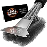 Grill Spark Quick/Easy BBQ Grill Brush and Scraper 18' | Safe Stainless Steel Barbecue Steam...