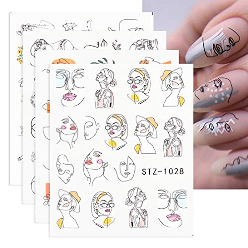 Nail Water Stickers Decals Foil Tattoo Nail Art Supplies 16 Pcs Abstract Image Snake Flower Leaf Black Line Face Animals Charms Butterfly Skull Design for Manicure Nail Art Watermark Decorations…