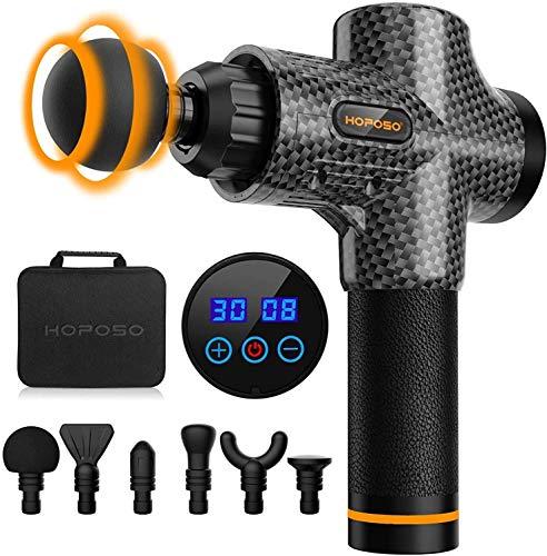 HOPOSO Massage Gun Deep Tissue,30 Speeds Handheld Muscle Massager,Musle Massage Gun with 6 Heads,Powerful Muscle Gun- LED Indicator Touch Screen (Carbon Black)