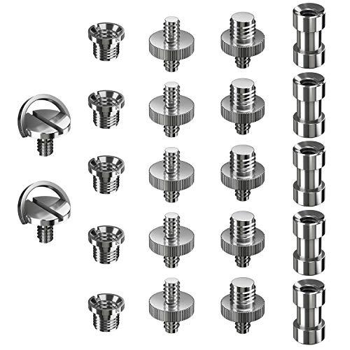 Ventvinal 22 pezzi Adattatori a Vite con Filettatura da 1/4' a 3/8' in Metallo Convertitore Vite Adattatore per Fotocamera DSLR, Treppiede, Rig a Spalla, Cavalletto, Gabbia Fotocamera