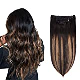 5 Pieces 16' Remy Clip in Hair Extensions Human Hair Natural Black to...