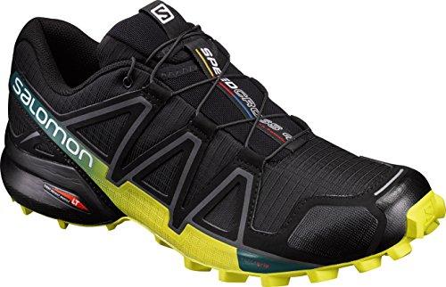 Salomon Herren Trail Running Schuhe, SPEEDCROSS 4, Farbe: schwarz/gelb (Black/Everglade/Sulphur Spring) Größe: EU 47 1/3