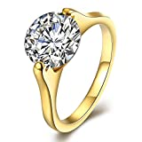 2mm 18K Gold Wedding Band Ring with 5A CZ for Women Titanium Plated Promise Engagement Anniversary...