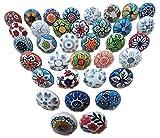 Juego de 20 tiradores vintage de cerámica, con distintos diseños de flores, ideales para puertas,...