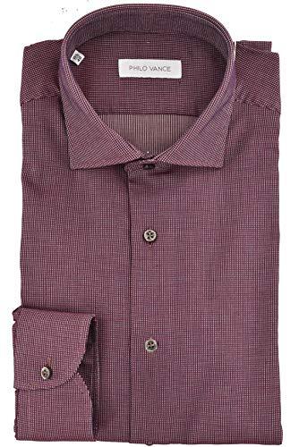 Camicia Uomo Bordeaux Collo Francese Slim Fit - Capri - Bordeaux, 17 44