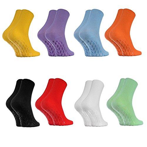Rainbow Socks - Donna Uomo Calzini Diabetici Senza Elastico Antiscivolo ABS - 8 Paia - 8x Colori -...