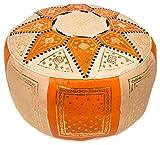 Pouf fassi en cuir, pouf marocain fait main en cuir véritable, no rembourré....