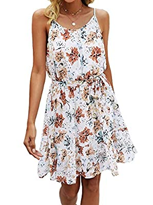 Design:Spaghetti Strap Dresses/Sleeveless Dress/Floral Print/Backless/Crewneck/Tie Waist/ruffle Hem/High Waist/Lined/Loose Fit/Flowy Dress/Womens Summer Dress/Womens Casual Dress/Bohemian/Party/Beach/Cocktail/Wedding Guest Lovely Mini Short Dress! Th...