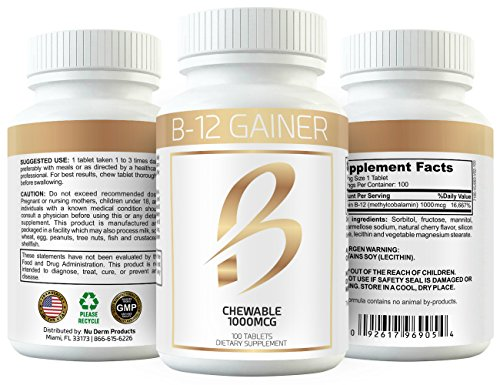 Gain Weight Fast w Weight Gainer B-12 Chewable Absorbs Faster Than Weight Gain Pills for Fast Massive Weight Gain in Men and Women While Opening Your Appetite More Than Protein 4