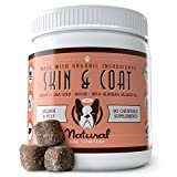 Natural Dog Company Skin & Coat Supplement, Omega 3 & 6 from Wild Alaksan Salmon Oil, Promotes Healthy Skin and Shiny Coat, Salmon & Peas Flavor, 90 Chews