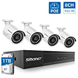 8CH Full HD PoE Home Security Camera System,SMONET NVR Surveillance System with 1TB Hard Drive,4pcs Onvif Indoor Outdoor Full HD IP Cameras,Waterproof NVR Kits,Night Vision,Free Remote View