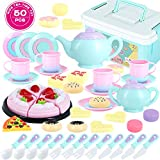 Toys Tea Set 50 Pieces Party Play Food for Kids,Princess Tea Time Toy Set Including Dessert,Cookies,Doughnut,Tea Party Accessories Toy for Toddlers,Boys Girls