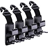 Car Seat Headrest Hook, 4 Pack Universal Car Storage Headrest Hanger Holder Hooks, Vehicle Strong and Durable Backseat Hanger for Handbag Purse Coat and Grocery Bag