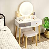 CHARMAID Vanity Set with Lighted Mirror, 3 Lighted Modes Touch Screen Dimming Mirror, Modern Bedroom Makeup Dressing Table with 4 Sliding Drawers and Cushioned Stool for Girls Women Gifts, White