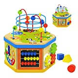 TOP BRIGHT Activity Cube Toys Baby Wooden Bead Maze Shape Sorter 7-in-1 Toys for 1 Year Old Boy and Girl Toddlers Gift
