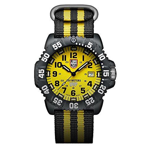 Luminox Uhr Herren Setbox Special Operations Serie (A.3955.Set) Made in Schweiz, Schwarzes Gehäuse + Gelbes Ziffernblatt + 200 Meter wasserdichte Taucheruhr