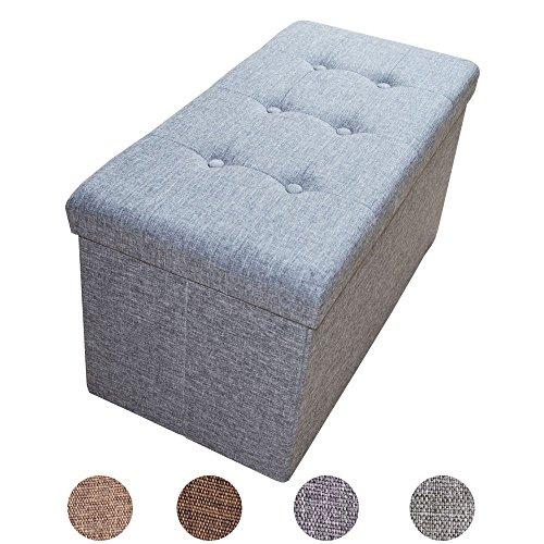 Style home Faltbare Sitzbank Sitzhocker Sitzwürfel Aufbewahrungsbox mit Stauraum, Fußbank Hocker, belastbar bis 300 kg, 76 x 38 x 38 cm, 2676-18-Grau (Leinen)