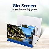 ASHATA Agrandisseur d'Écran Smartphone, 8 Pouces Écran Loupe 3D Amplificateur d'écran Screen Magnifier pour Intérieur, Camping, Tourisme(Bleu)