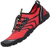 Tmaza Zapatos de Agua Hombre Secado Rápido Zapatos de Surf Mujer Respirable Antideslizante Escarpines Snorkel para Vela,Kayak,Buceo Rojo Manzana Caramelo 41 EU