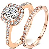 Jude Jewelers Silver Rose Gold 2 Carat Wedding Engagement Eternity Bridal Ring Set (Rose Gold, 7)