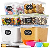 Chef's Path Food Storage Containers - Pantry Organization - Great for Flour, Sugar, Baking Supplies - Airtight Kitchen Bulk Food Canisters - BPA-Free - 6 PC Set - Measuring Spoons, 8 Labels & Pen