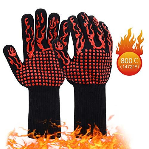 JSDing Guanti da Barbecue in Silicone Resistente al Calore | Guanti da Forno Cucina 800 C/1472F 1...