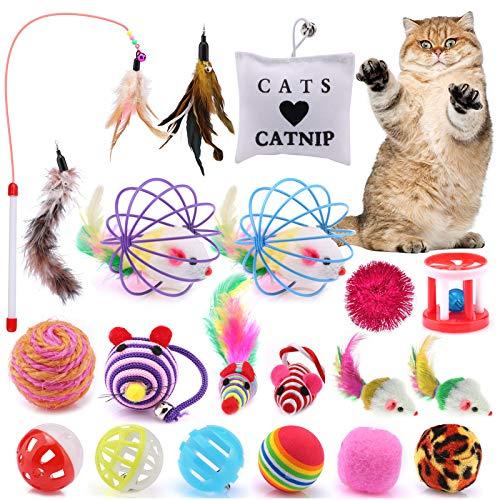 Juguete Interactivo para Gatos ASANMU, 20 Piezas Ratón y Bolas Varias con Campanas y Plumas, Cabezales de Repuesto y Catnip Ball