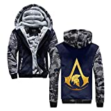Assassin's Creed Pullover Manteau à Capuchon d'extérieur Hommes Populaire Imprimé Garder au Chaud en Hiver Adolescents Veste Zipper Unisexe (Color : Blue17, Size : XL)