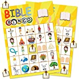 Bible Games for Kids 24 Players Bible Bingo Game Pack for Church Family Open Day Sunday School Bible Party Decorations