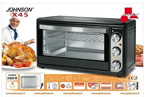 JOHNSON Forno Elettrico X 45 Statico Ventilato Potenza 2000 Watt Capacit 45 Litri Colore Nero/Bianco