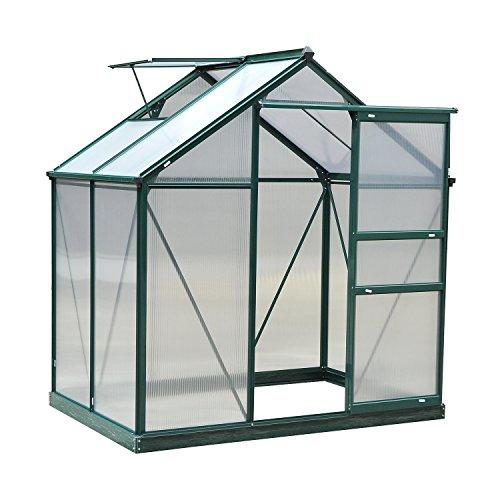 Outsunny Serre de Jardin Aluminium Polycarbonate 2,51 m² dim. 1,9L x 1,32l x 2,01H m Lucarne, Porte coulissante + Fondation Incluse alu. Vert Polycarbonate Transparent
