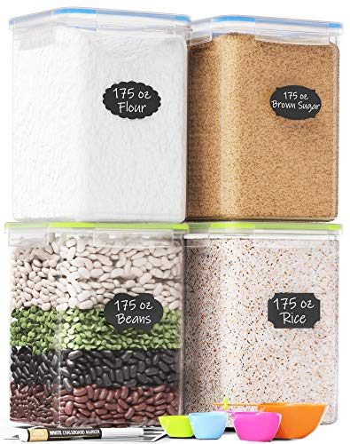 Extra Large Tall Food Storage Containers 175oz, For Flour & Sugar - Airtight Kitchen & Pantry Organization Bulk Food Storage, BPA-Free - 4 PC Set - Canisters with Scoops, Pen & Labels - Chefs Path