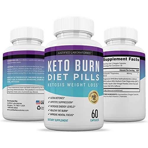 Keto Diet Pills Burn Shred BHB Salts Advanced Ketogenic Supplement Exogenous Ketones Ketosis Weight Loss Fat Burner Boost Energy Metabolism Men Women 60 Capsules (5 Bottles) 4