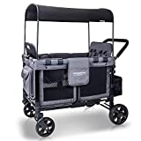 WONDERFOLD W4 Multi-Function Four Passenger Wagon Folding Quad Push Stroller with Removable Reversible Canopy, Seats up to 4 Toddlers, Gray